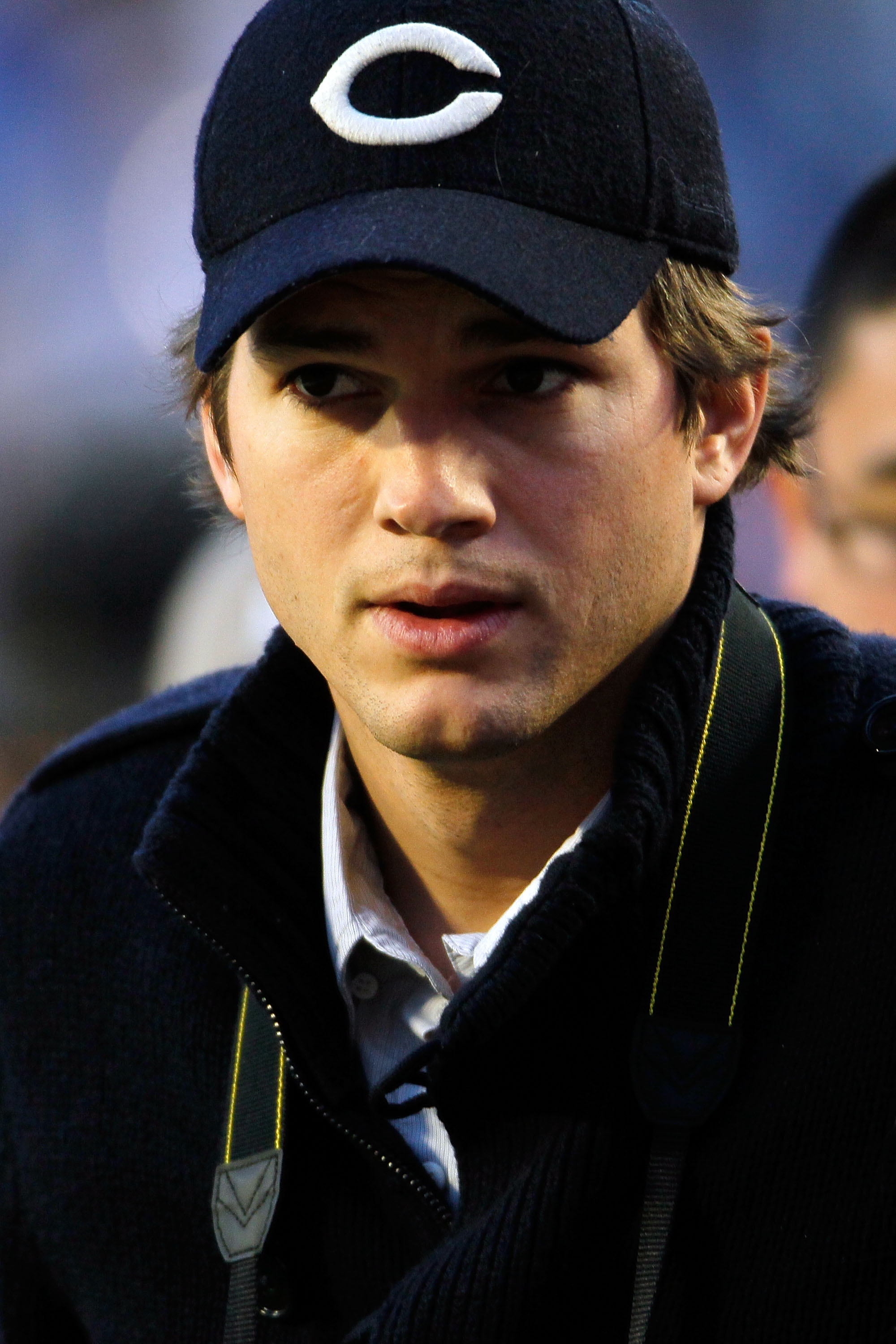 MIAMI GARDENS, FL - FEBRUARY 07: Actor Ashton Kutcher stands on the sidelines prior to Super Bowl XLIV between the Indianapolis Colts and the New Orleans Saints on February 7, 2010 at Sun Life Stadium in Miami Gardens, Florida.  (Photo by Donald Miralle/G