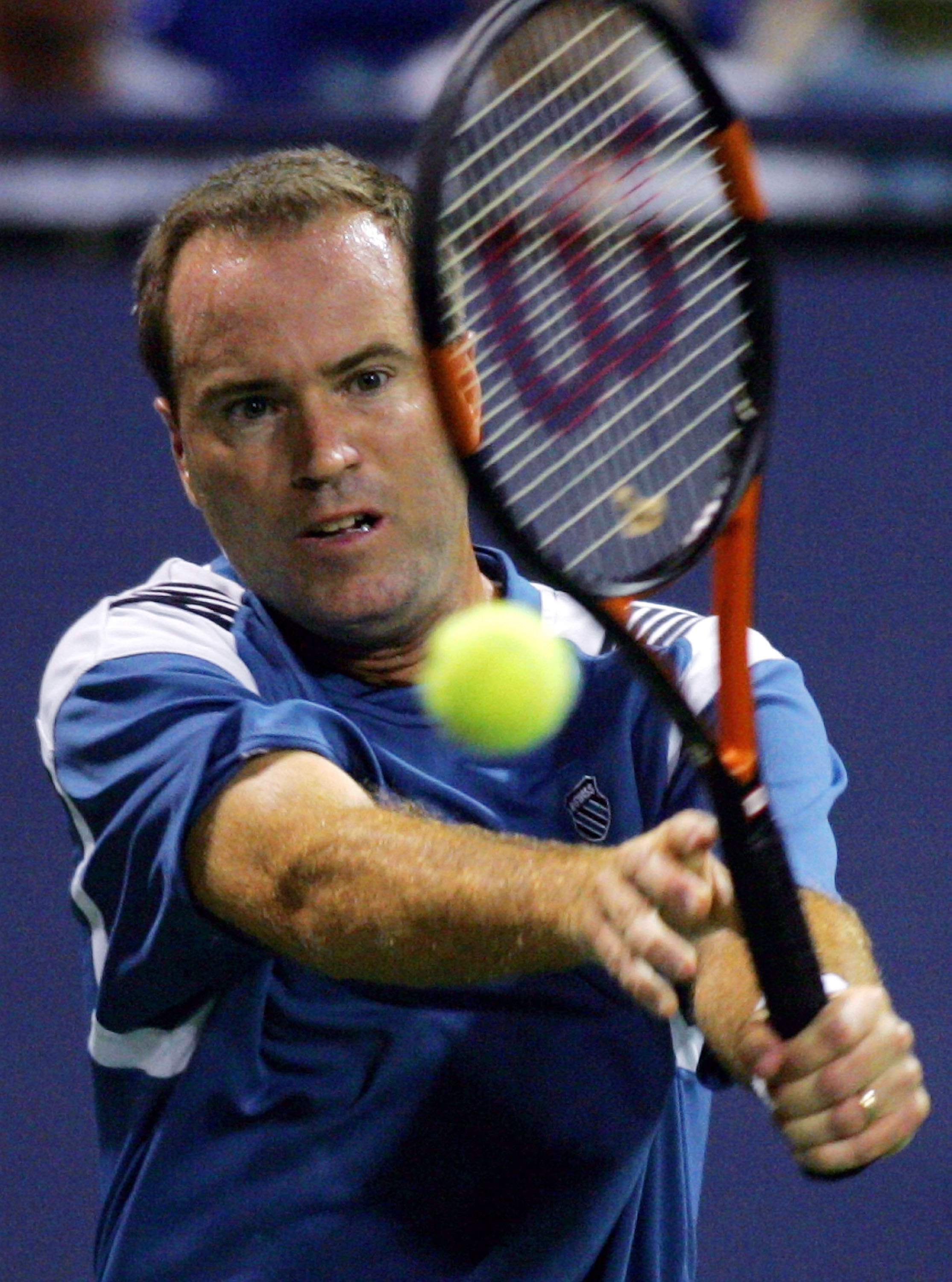LOS ANGELES - JULY 15:  Rick Leach returns the ball during day 4 of the Mercedes-Benz Cup on July 15, 2004 at the Los Angeles Tennis Center at UCLA in Los Angeles, California.  Leach and Brian Macphie played doubles against Jonathan Erlich and Andy Ram of