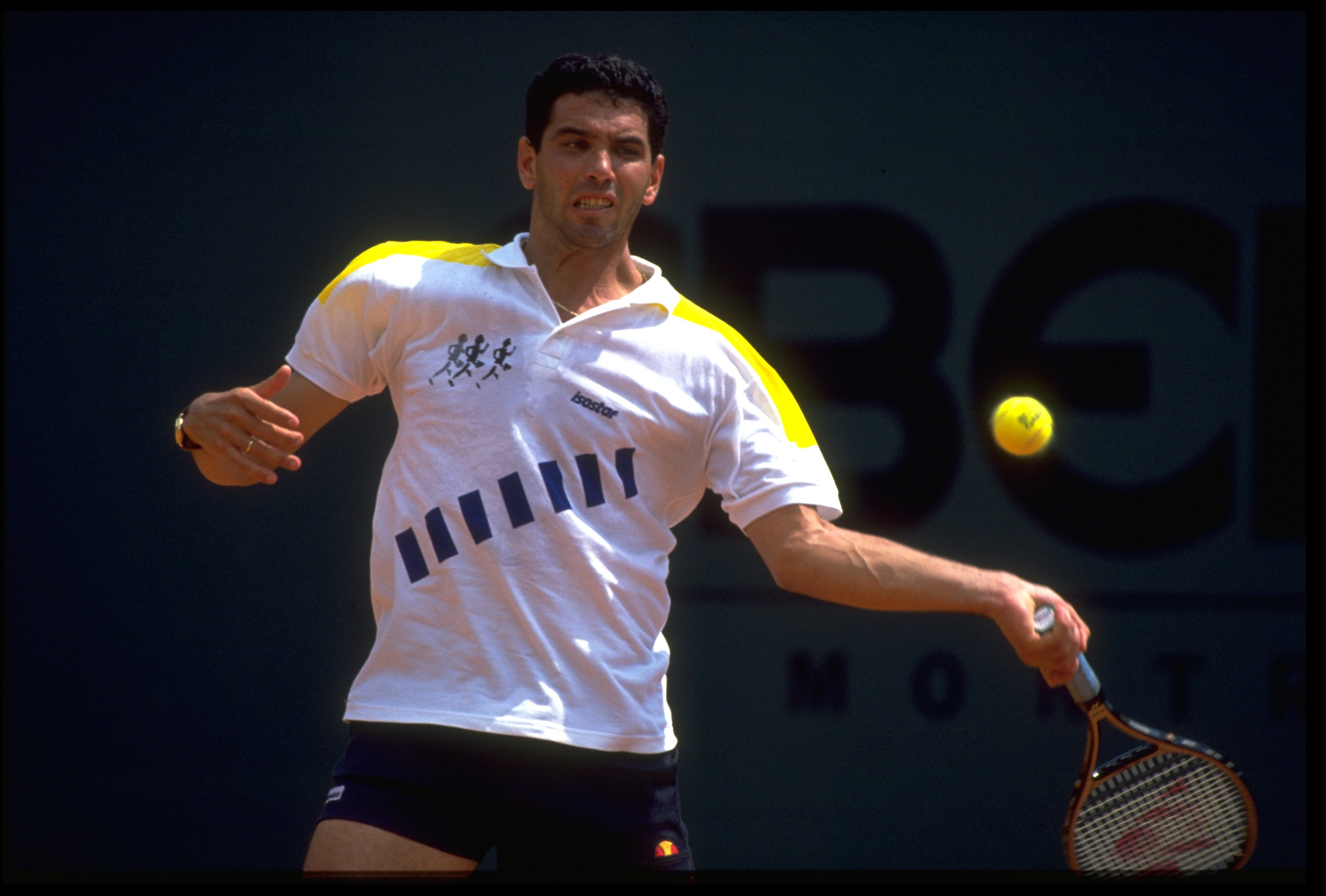 APR 1990:  ANDRES GOMEZ OF ECUADOR PLAYS A BACKHAND STROKE DURING A MATCH AT THE 1990 MONTE CARLO OPEN.