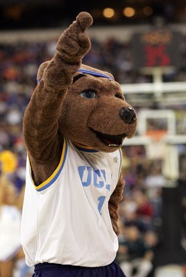 INDIANAPOLIS - APRIL 01:  Joe Bruin, the UCLA Bruins mascot performs as they take on the LSU Tigers during the semifinal game of the NCAA Men's Final Four on April 1, 2006 at the RCA Dome in Indianapolis, Indiana.  (Photo by Streeter Lecka/Getty Images)