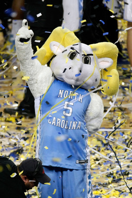 DETROIT - APRIL 06:  The North Carolina Tar Heels mascot celebrates after the Tar Heels defeated the Michigan State Spartans 89-72 during the 2009 NCAA Division I Men's Basketball National Championship game at Ford Field on April 6, 2009 in Detroit, Michi
