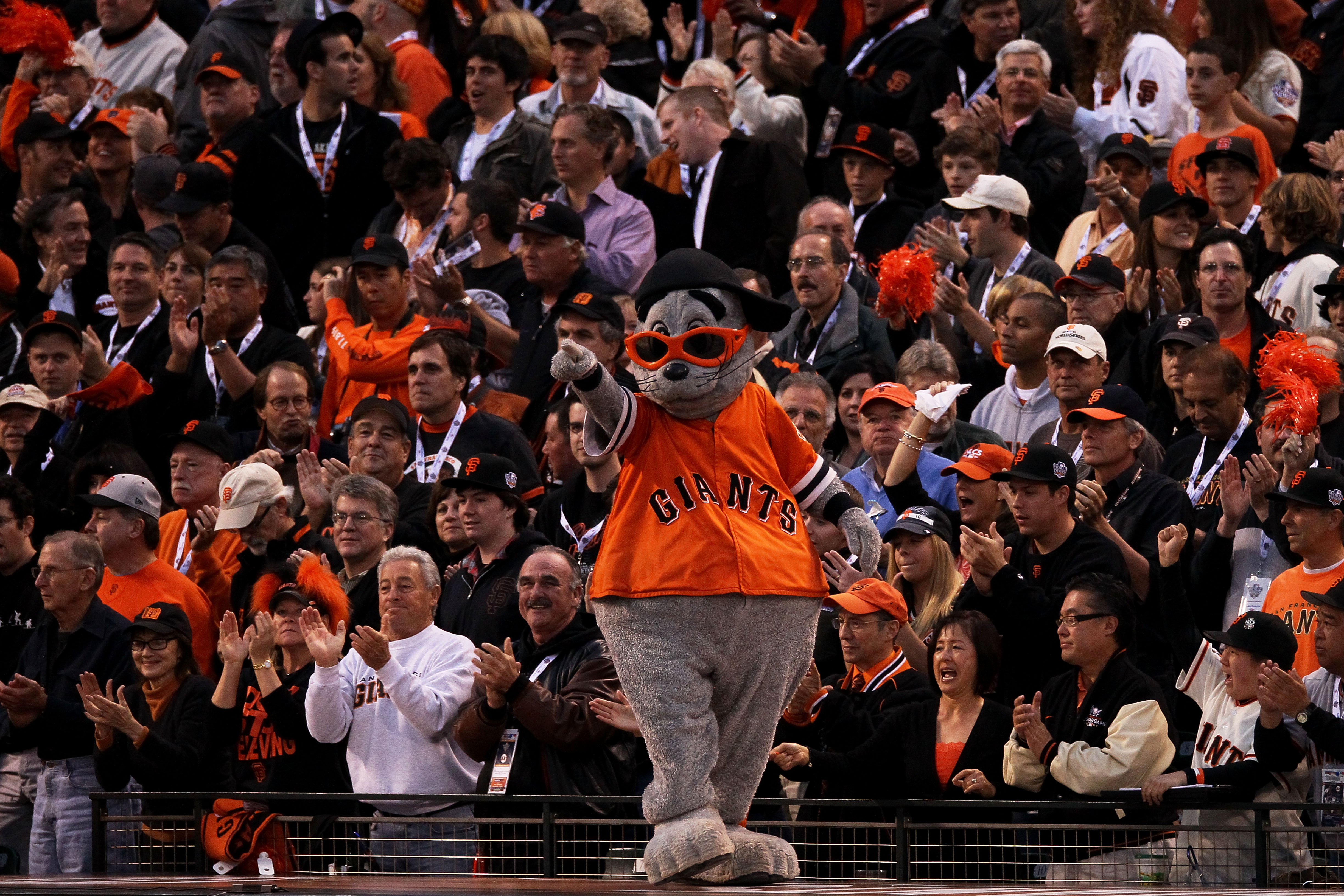 SAN FRANCISCO - OCTOBER 27:  The San Francisco Giants mascot Lou Seal performs during Game One of the 2010 MLB World Series at AT&T Park on October 27, 2010 in San Francisco, California.  (Photo by Elsa/Getty Images)