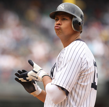NEW YORK, NY - JUNE 16:  Alex Rodriguez #13 of the New York Yankees looks on against the Texas Rangers during their game on June 16, 2011 at Yankee Stadium in the Bronx borough of New York City.  (Photo by Al Bello/Getty Images)