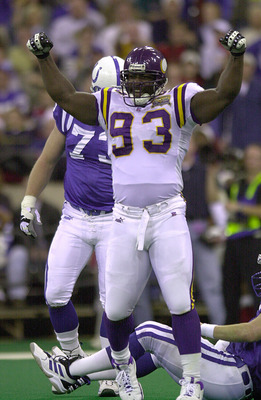 24 Dec 2000: John Randle #93 of the Minnesota Vikings celebrates after he pressured Indianapolis Colts'' quarterback Peyton Manning into throwing an incomplete pass during the first half at the RCA Dome in Indianapolis, Indiana. DIGITAL IMAGE. Mandatory C