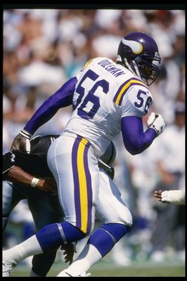 5 Sep 1993: Linebacker Chris Doleman of the Minnesota Vikings moves down the field during a game against the Los Angeles Raiders at the Los Angeles Memorial Coliseum in Los Angeles, California. The Raiders won the game, 24-7.