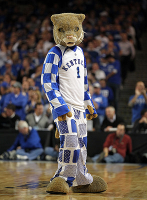 LOUISVILLE, KY - DECEMBER 08:  The Kentucky Wildcats mascot performs during the game against the Notre Dame Fighting Irish in the 2010 DIRECTV SEC/BIG EAST Invitational at Freedom Hall on December 8, 2010 in Louisville, Kentucky.  (Photo by Andy Lyons/Get
