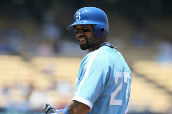 LOS ANGELES, CA - JUNE 15:   Matt Kemp #27 of the Los Angeles Dodgers wears the Brooklyn Dodgers throwback uniform in the game against the Cincinnati Reds on June 15, 2011 at Dodger Stadium in Los Angeles, California.  The Reds won 7-2.  (Photo by Stephen