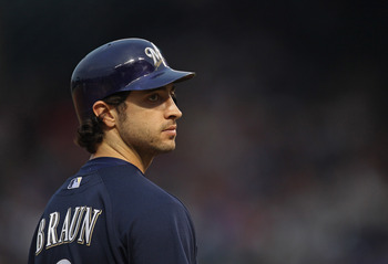 CHICAGO, IL - JUNE 14:  Ryan Braun #8 of the Milwaukee Brewers waits at 3rd base against the Chicago Cubs at Wrigley Field on June 14, 2011 in Chicago, Illinois. The Cubs defeated the Brewers 5-4 in 10 innings.  (Photo by Jonathan Daniel/Getty Images)