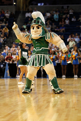 TAMPA, FL - MARCH 17:  Sparty, the msacot for the Michigan State Spartans, performs against the UCLA Bruins during the second round of the 2011 NCAA men's basketball tournament at St. Pete Times Forum on March 17, 2011 in Tampa, Florida.  (Photo by J. Mer