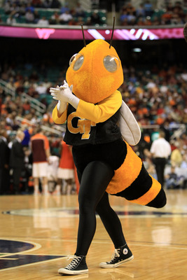 GREENSBORO, NC - MARCH 10:  Buzz, the mascot for the Georgia Tech Yellow Jackets, performs during the first half of the game against the Virginia Tech Hokies in the first round of the 2011 ACC men's basketball tournament at the Greensboro Coliseum on Marc