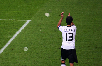 VIENNA, AUSTRIA - JUNE 29:  Michael Ballack of Germany waves to supporters after the UEFA EURO 2008 Final match between Germany and Spain at Ernst Happel Stadion on June 29, 2008 in Vienna, Austria.  (Photo by Clive Rose/Getty Images)