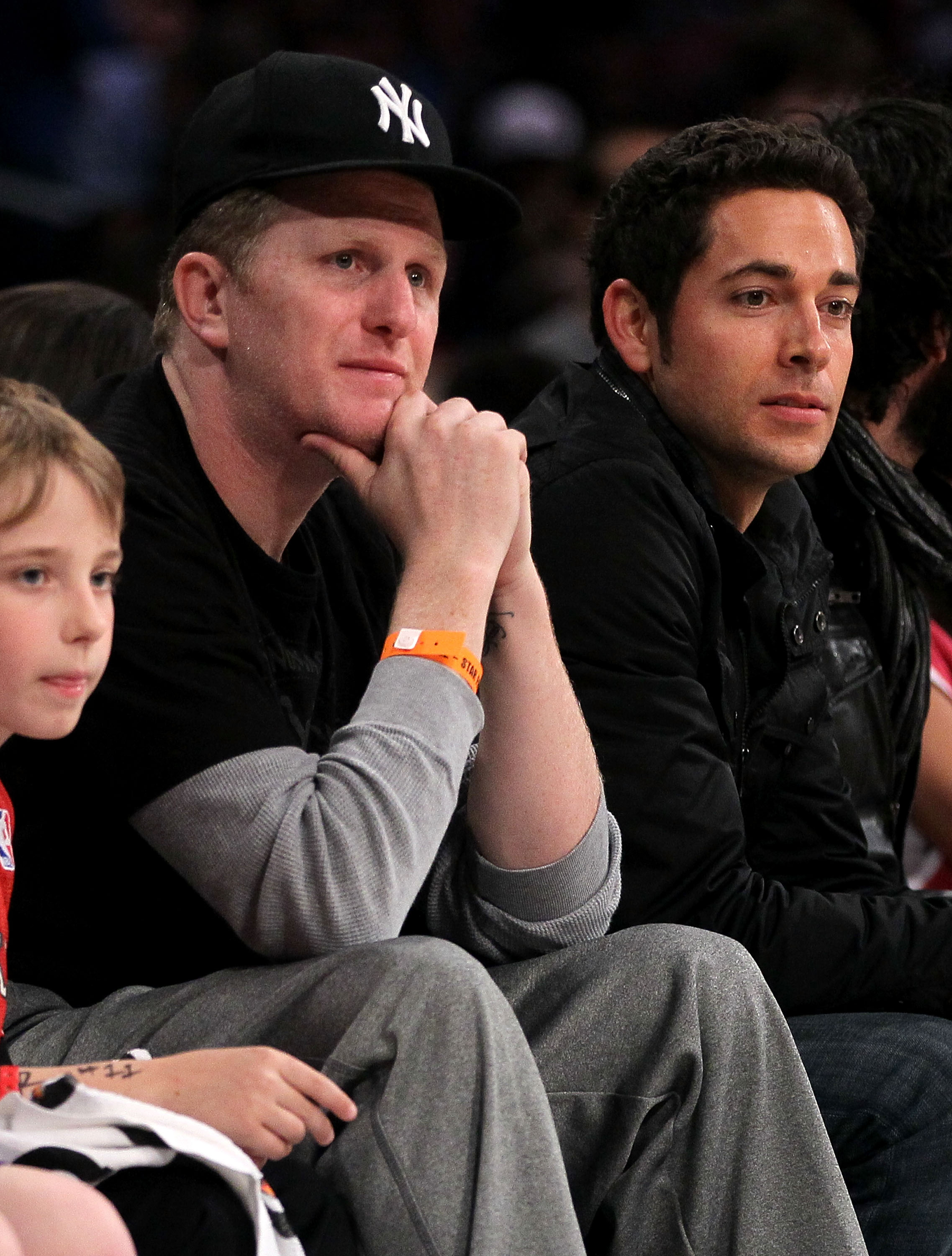 LOS ANGELES, CA - FEBRUARY 18:  Actors Michael Rapaport and Zachary Levi sit courtside during the T-Mobile Rookie Challenge and Youth Jam at Staples Center on February 18, 2011 in Los Angeles, California.  (Photo by Jeff Gross/Getty Images)