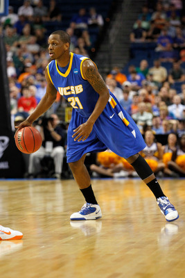 TAMPA, FL - MARCH 17:  James Nunnally #21 of the UC Santa Barbara Gauchos looks to pass the ball against the Florida Gators during the second round of the 2011 NCAA men's basketball tournament at St. Pete Times Forum on March 17, 2011 in Tampa, Florida. F
