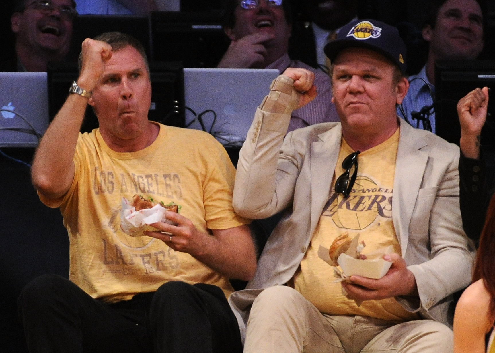 LOS ANGELES, CA - MAY 02:  (L-R) Actors Will Ferrell and John C. Reilly sit courtside during Game One of the Western Conference Semifinals in the 2011 NBA Playoffs between the Los Angeles Lakers and the Dallas Mavericks at Staples Center on May 2, 2011 in
