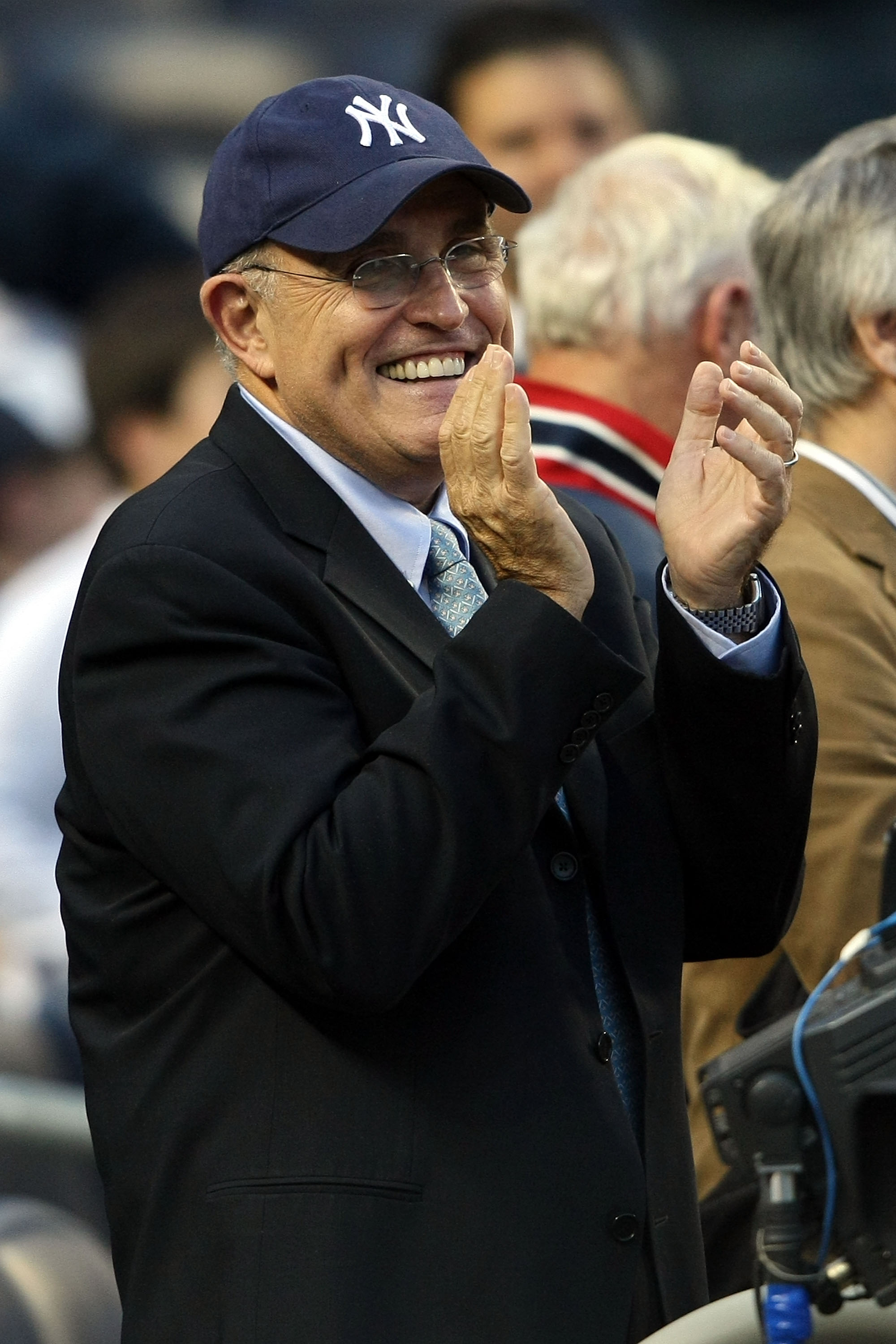 NEW YORK - OCTOBER 09:  Former New York City Mayor Rudolph Giuliani looks on as the New York Yankees take on the Minnesota Twins in Game Two of the ALDS during the 2009 MLB Playoffs at Yankee Stadium on October 9, 2009 in the Bronx borough of New York Cit