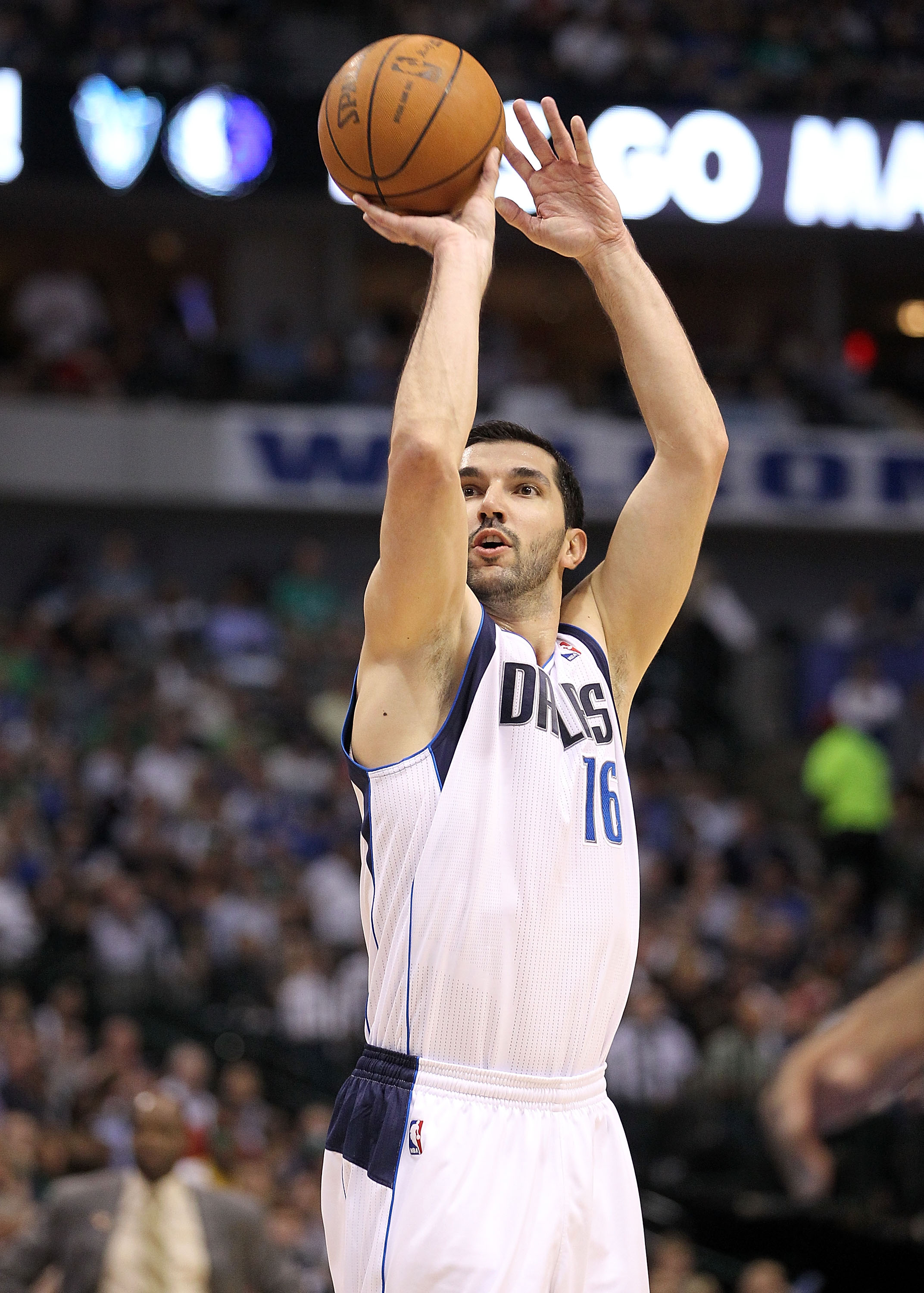 DALLAS, TX - APRIL 19:  Guard Peja Stojakovic #16 of the Dallas Mavericks makes a shot against the Portland Trail Blazers in Game Two of the Western Conference Quarterfinals during the 2011 NBA Playoffs on April 19, 2011 at American Airlines Center in Dal