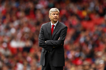 LONDON, ENGLAND - MAY 15:  Arsene Wenger manager of Arsenal looks skywards during the Barclays Premier League match between Arsenal and Aston Villa at the Emirates Stadium on May 15, 2011 in London, England.  (Photo by Richard Heathcote/Getty Images)