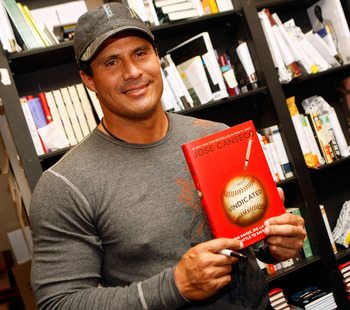 LOS ANGELES, CA - APRIL 07:  Former baseball player and author Jose Canseco  signs copies of his new book 'Vindicated: Big Names, Big Liars, and the Battle to Save Baseball' at Book Soup on April 7, 2008 in Los Angeles, California.  (Photo by Michael Buck