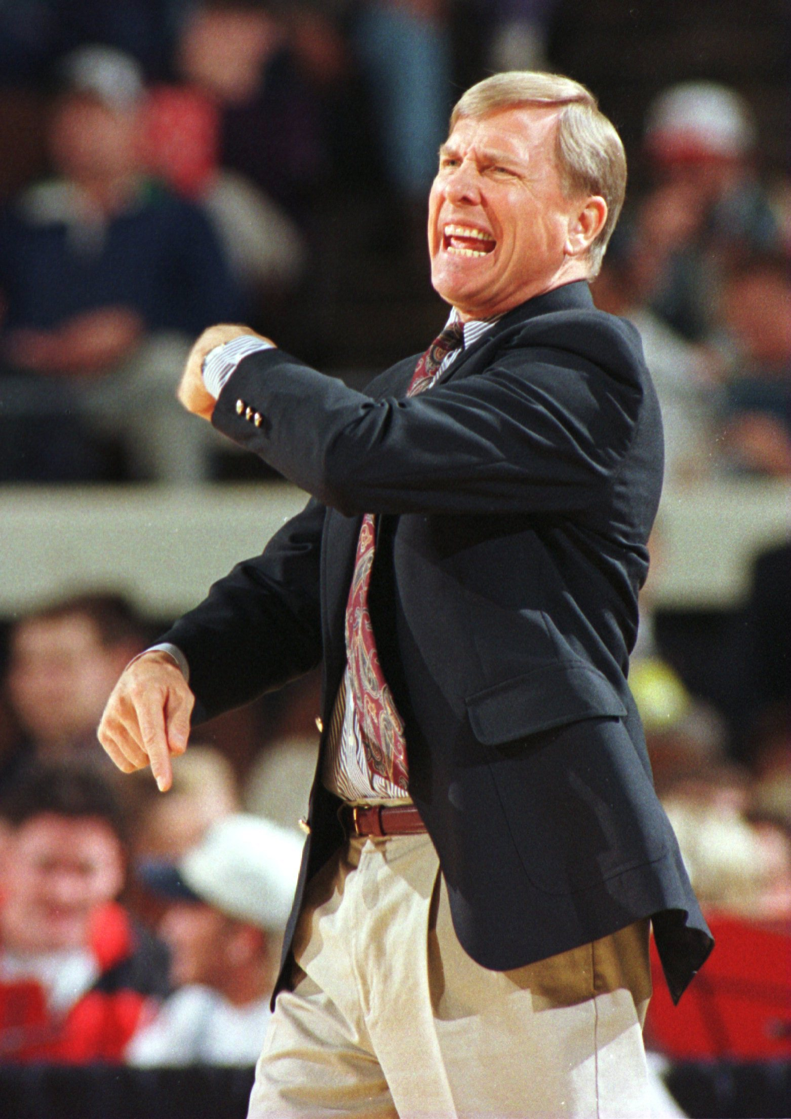 17 Mar 1996:  Head coach Dave Bliss of New Mexico shouts instructions from the sidelines but the Lobos couldn''t  fend off Georgetown as the Hoyas beat the Lobos 73-62 in the second round game of the NCAA East Regionals at the Richmond Coliseum in Richmon