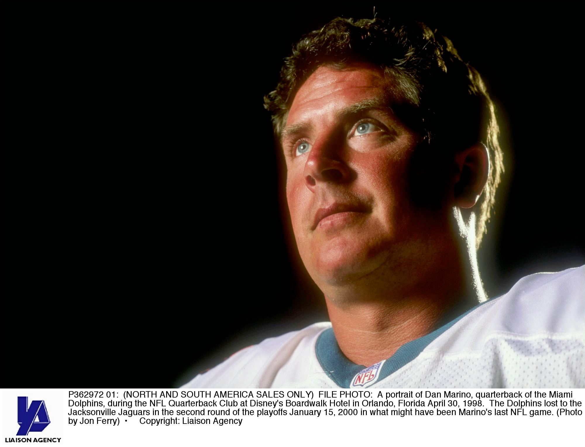 P362972 01: (NORTH AND SOUTH AMERICA SALES ONLY) FILE PHOTO: A portrait of Dan Marino, quarterback of the Miami Dolphins, during the NFL Quarterback Club at Disney's Boardwalk Hotel in Orlando, Florida April 30, 1998. The Dolphins lost to the Jacksonville