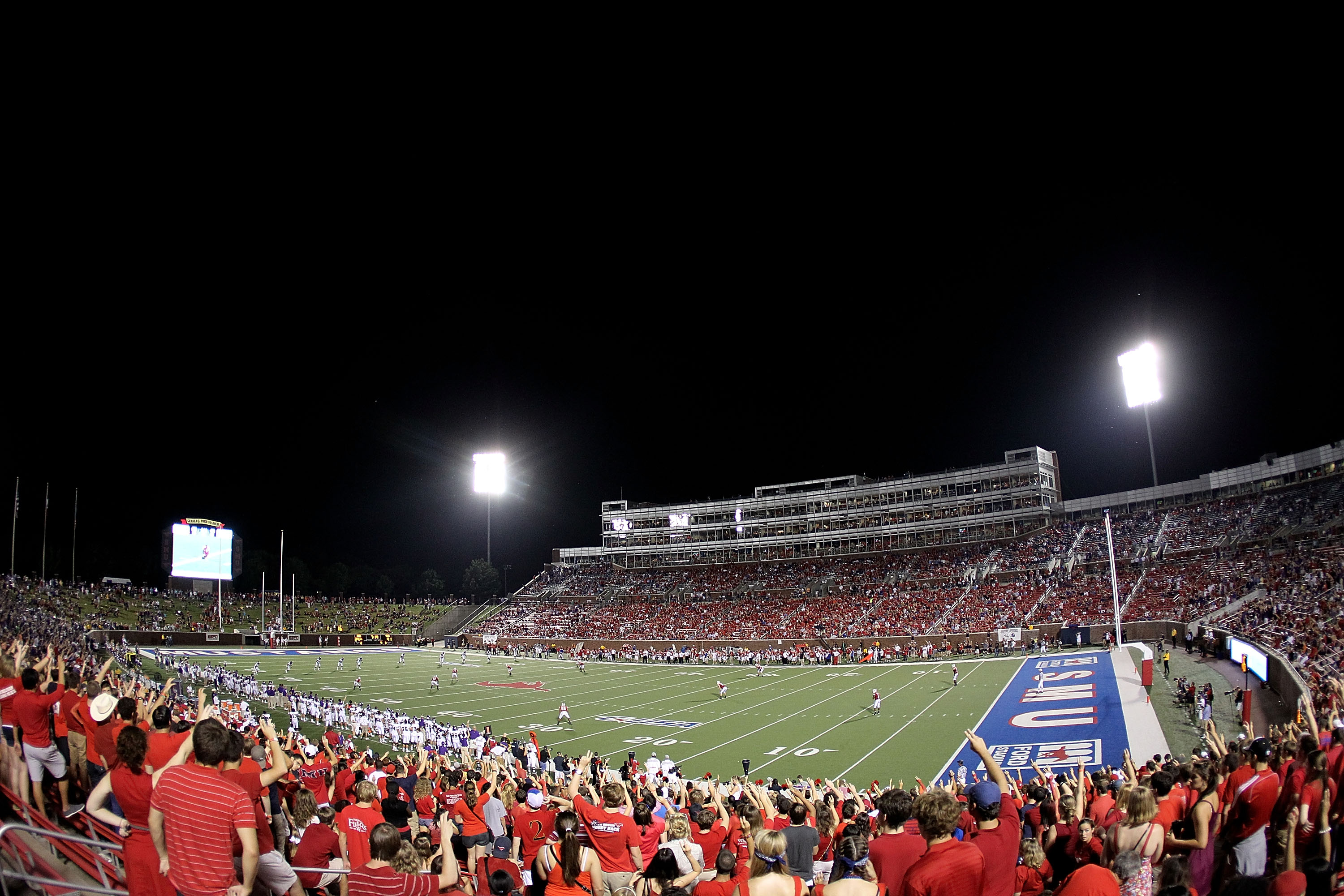 DALLAS - SEPTEMBER 24:  A general view of play between the TCU Horned Frogs and the SMU Mustangs at Gerald J. Ford Stadium on September 24, 2010 in Dallas, Texas.  (Photo by Ronald Martinez/Getty Images)
