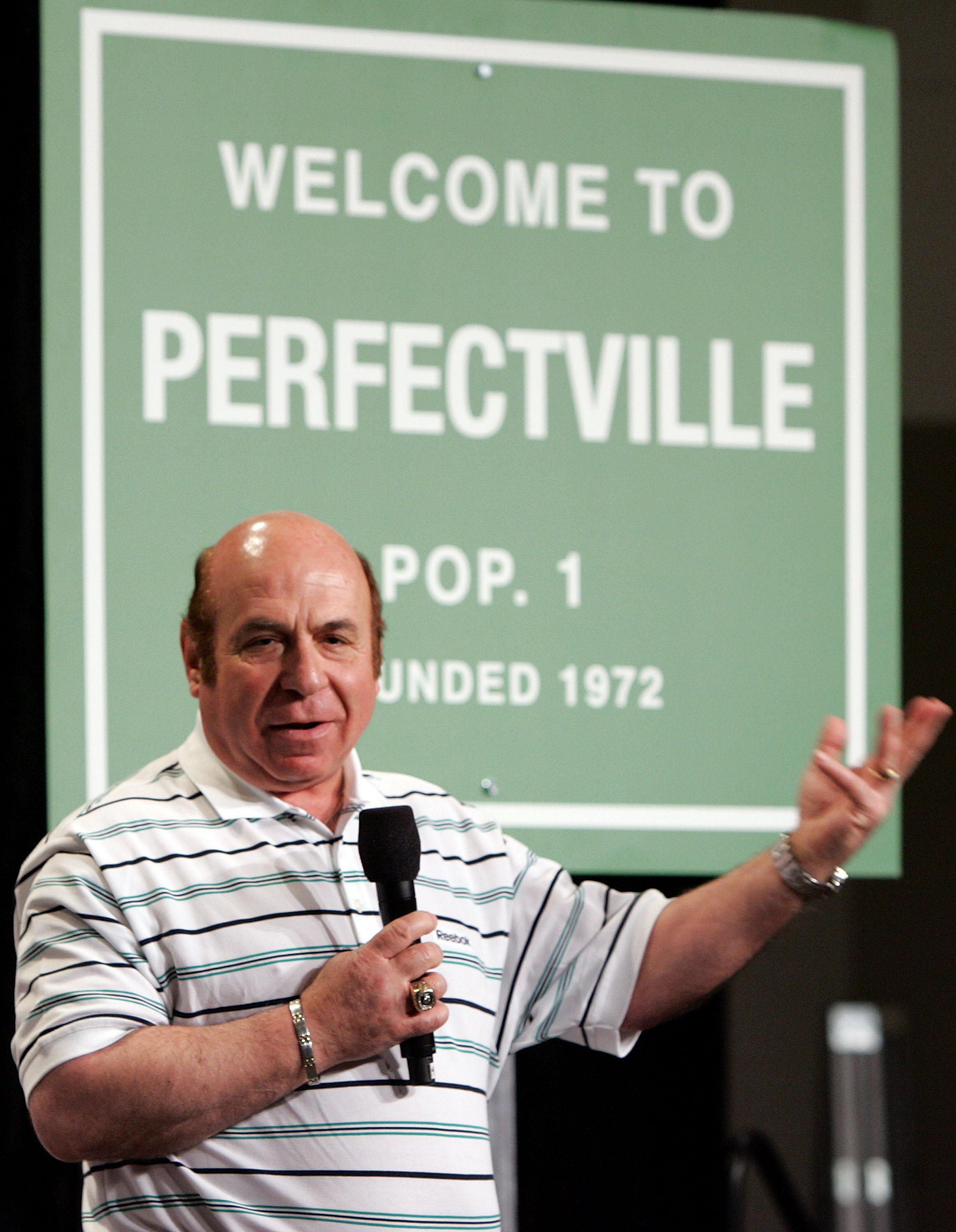 PHOENIX - FEBRUARY 01:  Former Miami Dolphin Garo Yepremian speaks during a press conference anouncing Reebok's new television campaign -dubbed 'Perfectville'- featuring members of the only undeated team in NFL history- the 1972 Miami Dolphins on February