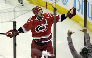 RALEIGH, NC - MAY 26:  Eric Staal #12 of the Carolina Hurricanes celebrates his first period goal against the Pittsburgh Penguins during Game Four of the Eastern Conference Championship Round of the 2009 Stanley Cup Playoffs at RBC Center on May 26, 2009