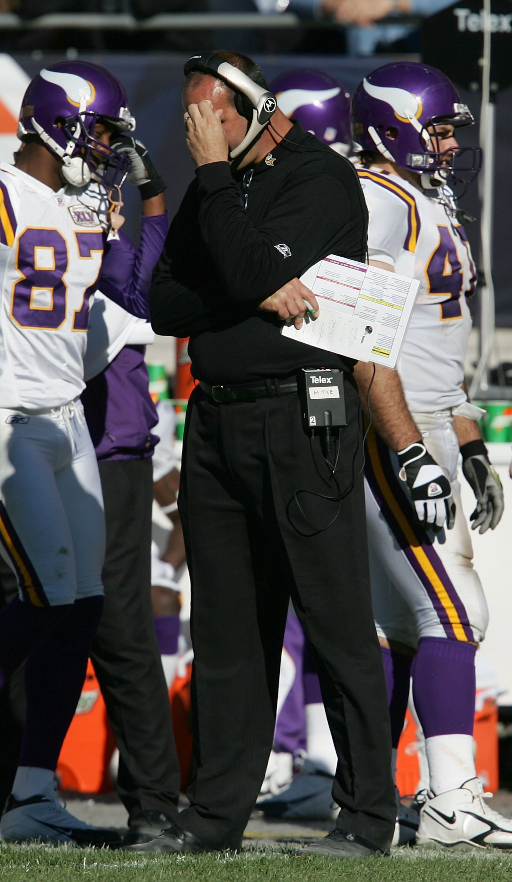 CHICAGO - OCTOBER 16:  Head Coach Mike Tice of the Minnesota Vikings watches his team in the fourth quarter against the Chicago Bears on October 16, 2005 at Soldier Field in Chicago, Illinois. The Bears defeated the Vikings 28-3.  (Photo by Jonathan Danie