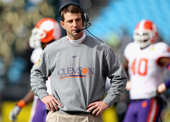 CHARLOTTE, NC - DECEMBER 31:  Head coach Dabo Swinney of the Clemson Tigers reacts to his teams 31-26 loss to the USF Bulls during their game at Bank of America Stadium on December 31, 2010 in Charlotte, North Carolina.  (Photo by Streeter Lecka/Getty Ima