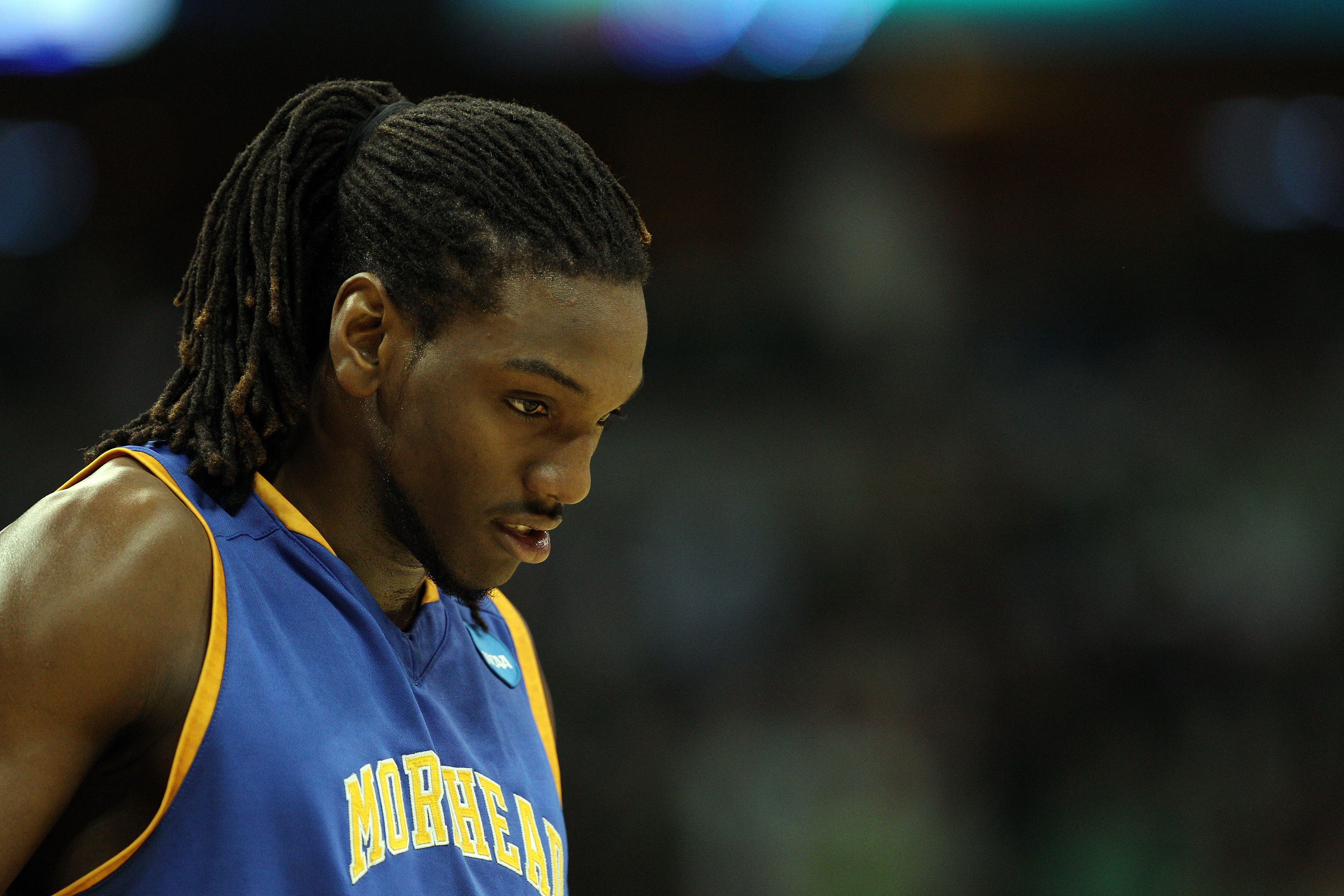 DENVER, CO - MARCH 17:  Kenneth Faried #35 of the Morehead State Eagles looks on during the second round of the 2011 NCAA men's basketball tournament at Pepsi Center on March 17, 2011 in Denver, Colorado.  (Photo by Justin Edmonds/Getty Images)