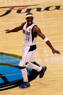 DALLAS, TX - JUNE 07:  Jason Terry #31 of the Dallas Mavericks reacts after he made a basket in the fourth quarter against the Miami Heat in Game Four of the 2011 NBA Finals at American Airlines Center on June 7, 2011 in Dallas, Texas. NOTE TO USER: User