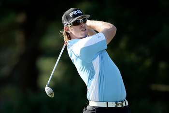 BETHESDA, MD - JUNE 14:   Hunter Mahan watches a shot during a practice round prior to the start of the 111th U.S. Open at Congressional Country Club on June 14, 2011 in Bethesda, Maryland.  (Photo by Andrew Redington/Getty Images)