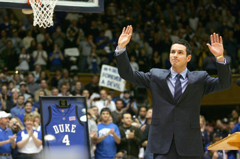 DURHAM, NC - FEBRUARY 04:  Former Duke Blue Devil J.J. Reddick waves to the crowd after a speech for his jersey retirement during halftime of their game against the Florida State Seminoles at Cameron Indoor Stadium on January 4, 2007 in Durham, North Caro
