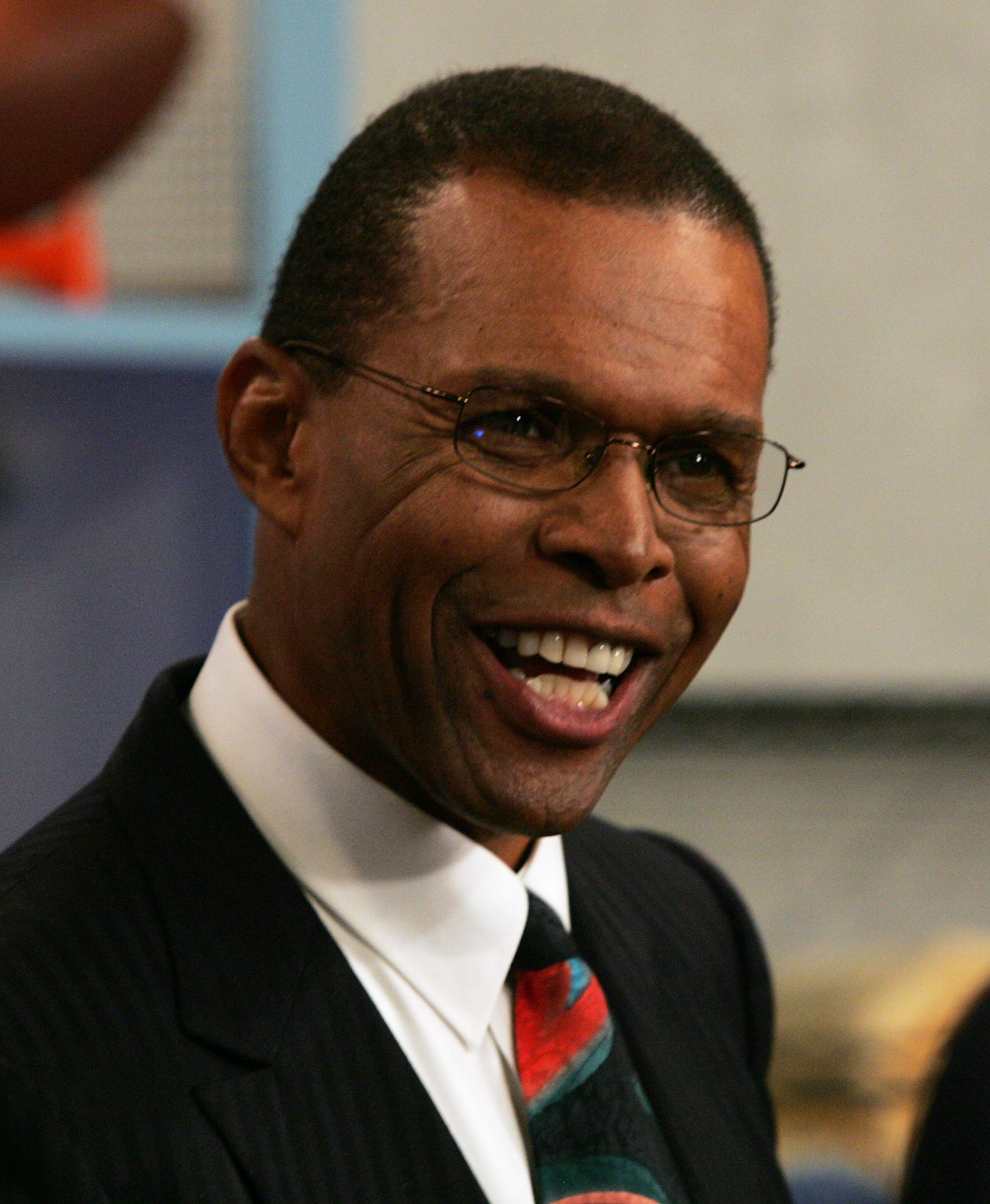 FORT LAUDERDALE, FL - DECEMBER 06:  Former NFL great Gale Sayers shares a laugh during the taping of the NFL Players Week 10th Anniversary on Wheel Of Fortune on December 6, 2005 in Fort Lauderdale, Florida.  (Photo by Doug Benc/Getty Images for PLAYERS I