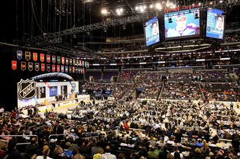 LOS ANGELES, CA - JUNE 25:  A general view of the 2010 NHL Entry Draft at Staples Center on June 25, 2010 in Los Angeles, California.  (Photo by Jeff Gross/Getty Images)