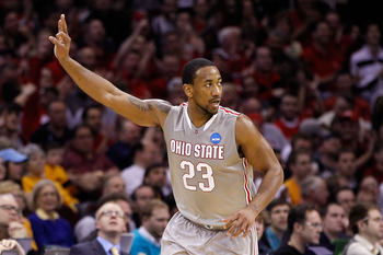 CLEVELAND, OH - MARCH 20: David Lighty #23 of the Ohio State Buckeyes gestures after making a three point basket against the George Mason Patriots during the third of the 2011 NCAA men's basketball tournament at Quicken Loans Arena on March 20, 2011 in Cl
