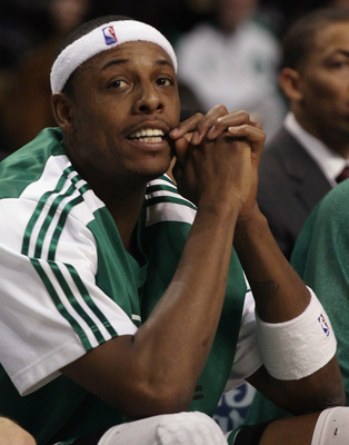 BOSTON, MA - DECEMBER 16:  Paul Pierce #34 of the Boston Celtics looks on from the bench in the first half against the Atlanta Hawks on December 16, 2010 at the TD Garden in Boston, Massachusetts. NOTE TO USER: User expressly acknowledges and agrees that,