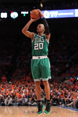 NEW YORK, NY - APRIL 24:  Ray Allen #20 of the Boston Celtics attempts a shot against the New York Knicks in Game Four of the Eastern Conference Quarterfinals during the 2011 NBA Playoffs on April 24, 2011 at Madison Square Garden in New York City. NOTE T