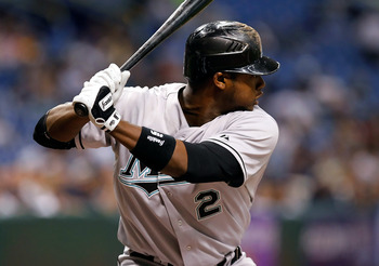 ST. PETERSBURG, FL - JUNE 17:  Shortstop Hanley Ramirez #2 of the Florida Marlins bats against the Tampa Bay Rays during the game at Tropicana Field on June 17, 2011 in St. Petersburg, Florida.  (Photo by J. Meric/Getty Images)