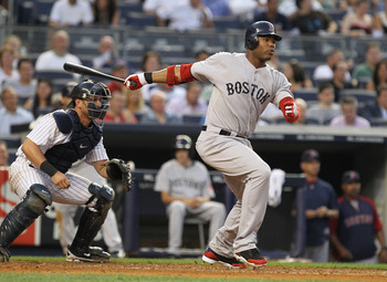 NEW YORK, NY - JUNE 08:  Carl Crawford #13 of the Boston Red Sox in action during their game on June 8, 2011 at Yankee Stadium in the Bronx borough of New York City.  (Photo by Al Bello/Getty Images)