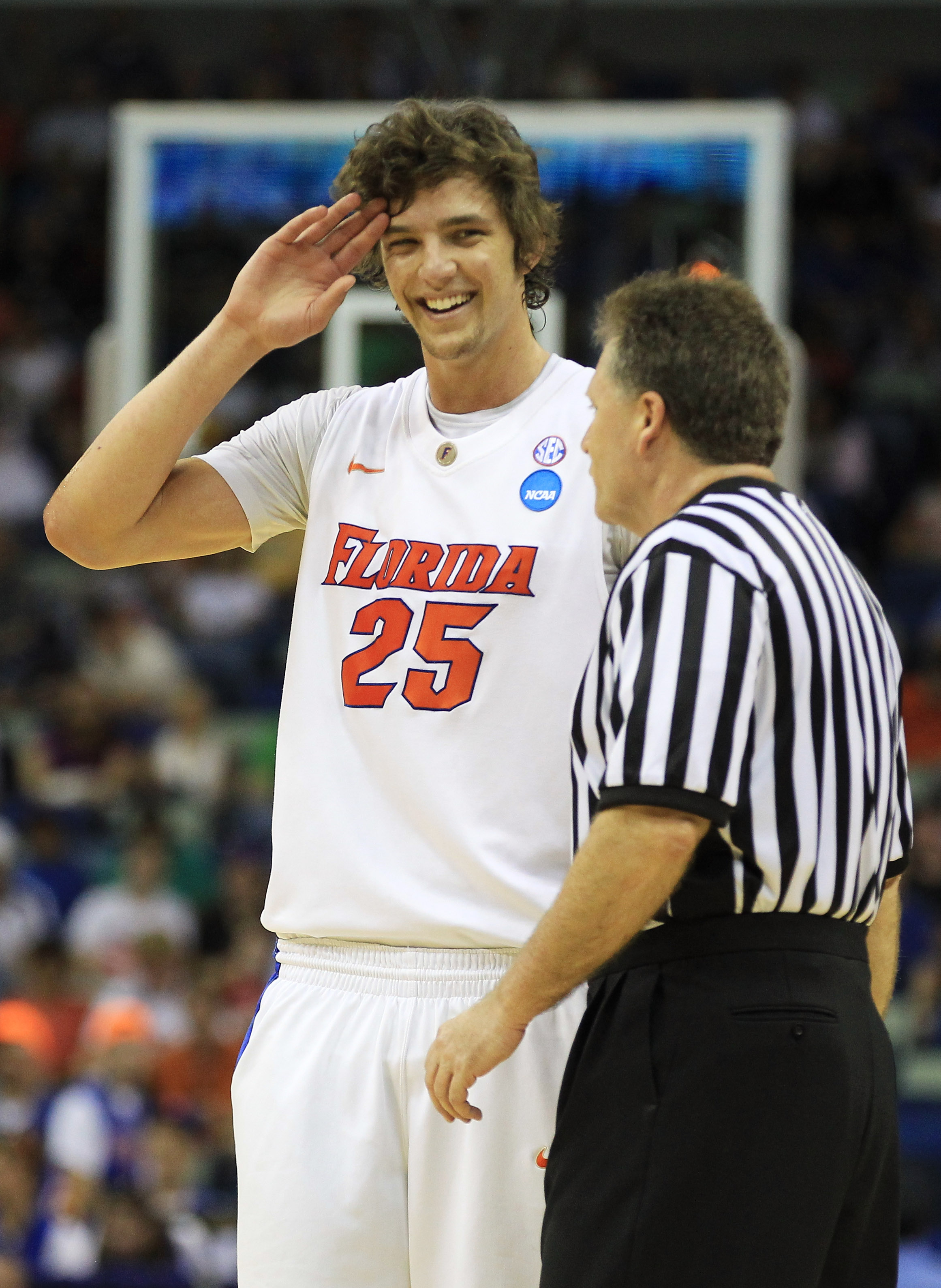 NEW ORLEANS, LA - MARCH 26:  Chandler Parsons #25 of the Florida Gators talks to an offical during their game against the Butler Bulldogs in the Southeast regional final of the 2011 NCAA men's basketball tournament at New Orleans Arena on March 26, 2011 i