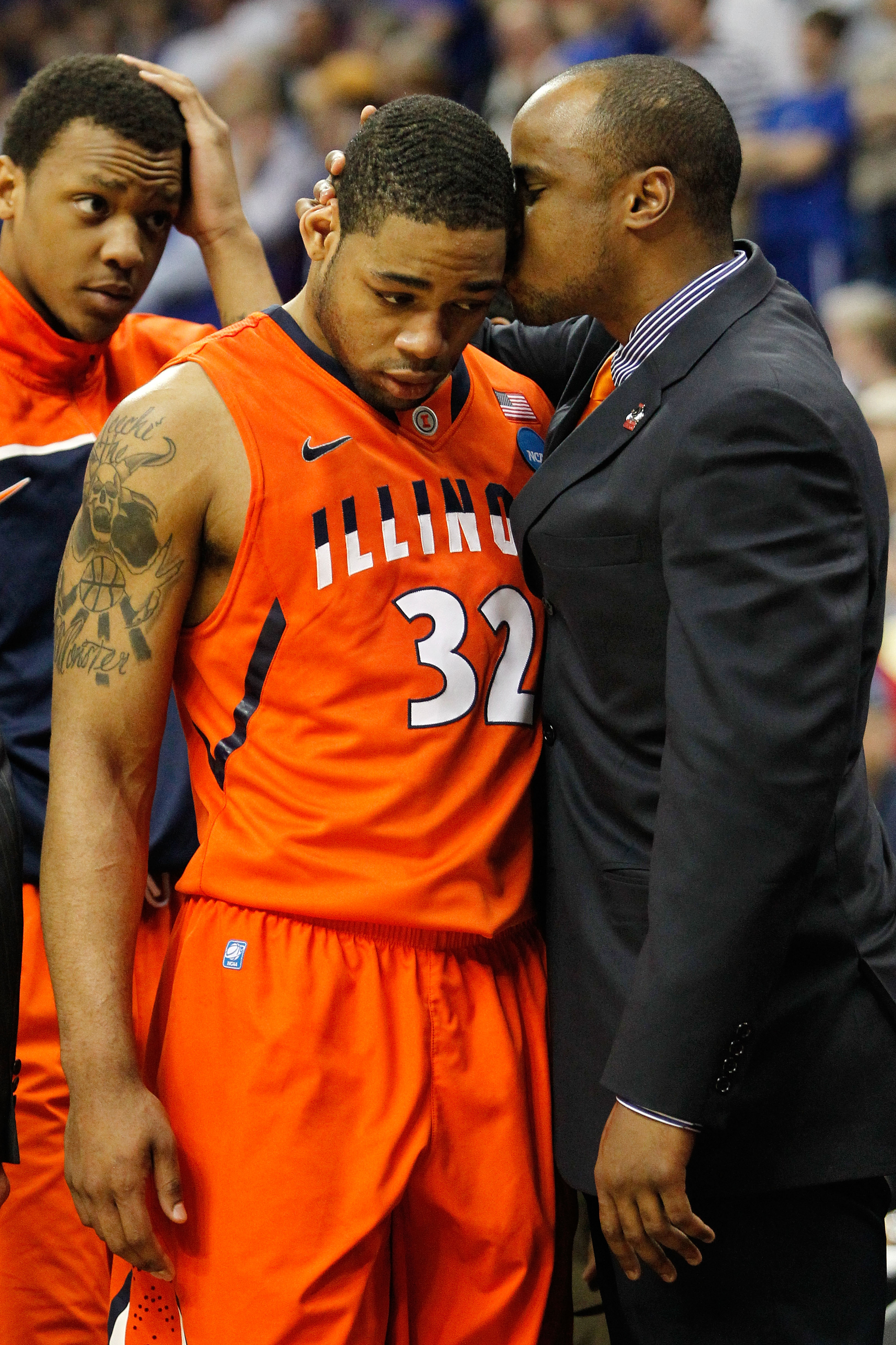 TULSA, OK - MARCH 20:  Demetri McCamey #32 of the Illinois Fighting Illini walks off the court in the final moments of their 59-73 loss to the Kansas Jayhawks during the third round of the 2011 NCAA men's basketball tournament at BOK Center on March 20, 2