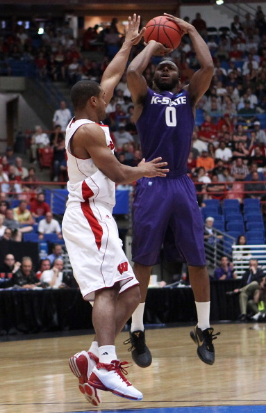 TUCSON, AZ - MARCH 19:  Jacob Pullen #0 of the Kansas State Wildcats shoots against the Wisconsin Badgers during the third round of the 2011 NCAA men's basketball tournament at McKale Center on March 19, 2011 in Tucson, Arizona.  (Photo by Christian Peter