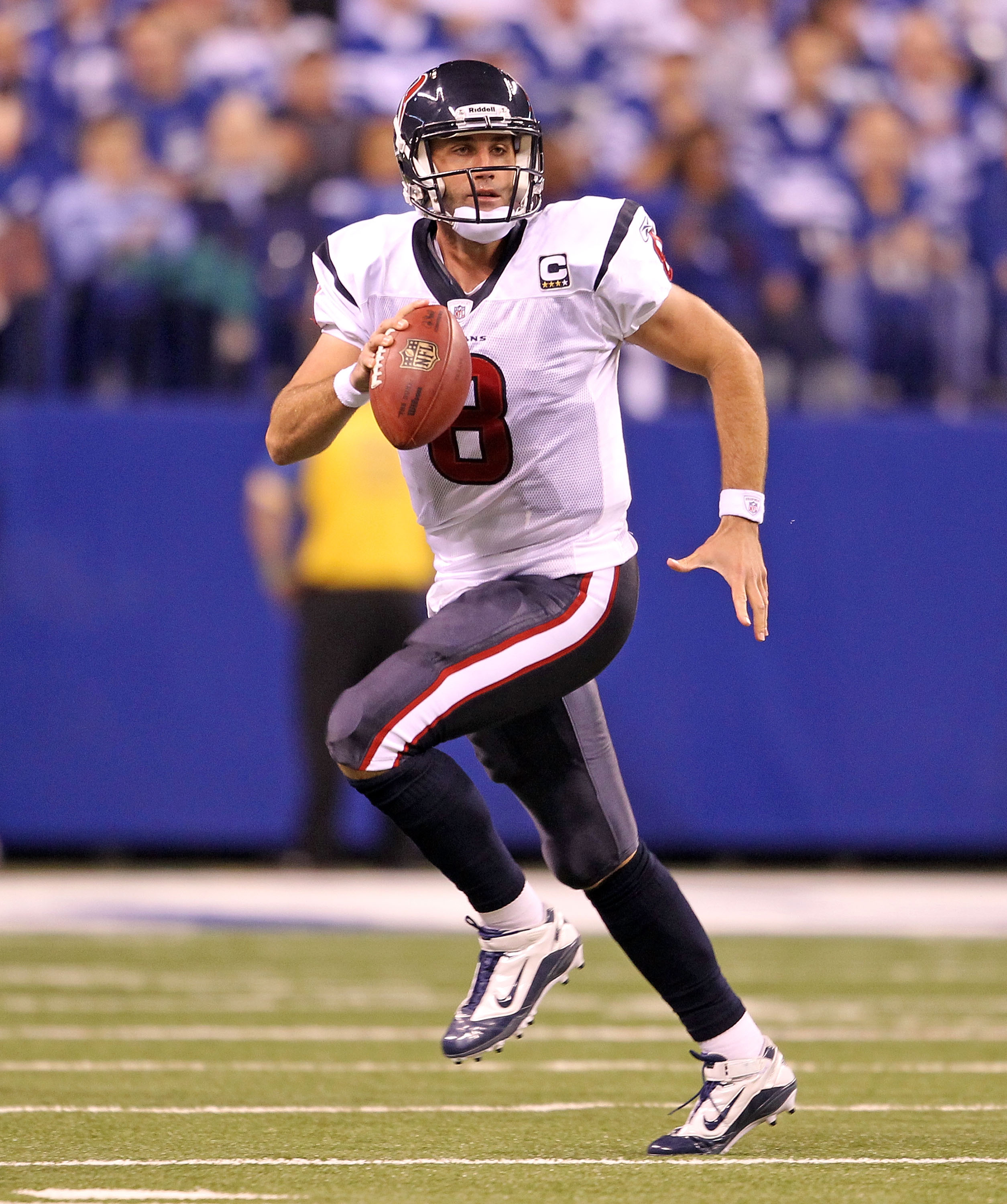 INDIANAPOLIS - NOVEMBER 01:  Matt Schaub #8 of Houston Texans runs with the ball during the NFL game against the Indianapolis Colts at Lucas Oil Stadium on November 1, 2010 in Indianapolis, Indiana.  (Photo by Andy Lyons/Getty Images)