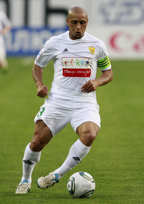 KHIMKI, RUSSIA - JUNE 14: Roberto Carlos of FC Anzhi Makhachkala in action during the Russian Premier League match between PFC CSKA Moscow and FC Anzhi Makhachkala at Arena Khimki on June 14, 2011 in Khimki, Russia.  (Photo by Dmitry Korotayev/Epsilon/Get