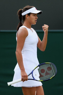 WIMBLEDON, ENGLAND - JUNE 27:  Ana Ivanovic of Serbia celebrates during the women's singles third round match against Samantha Stosur of Australia on Day Six of the Wimbledon Lawn Tennis Championships at the All England Lawn Tennis and Croquet Club on Jun