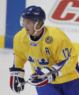 LAKE PLACID, NY - AUGUST 05:  Gabriel Landeskog #12 of Team Sweden skates against Team Finland at the USA Hockey National Evaluation Camp on August 5, 2010 in Lake Placid, New York.  (Photo by Bruce Bennett/Getty Images)