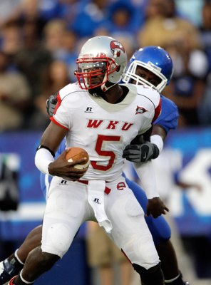LEXINGTON, KY - SEPTEMBER 27:  Quarterback K.J. Black #5 of the Western Kentucky Hilltoppers looks to make a play with the ball against the Kentucky Wildcats during the game at Commonwealth Stadium on September 27, 2008 in Lexington, Kentucky. The Wildcat