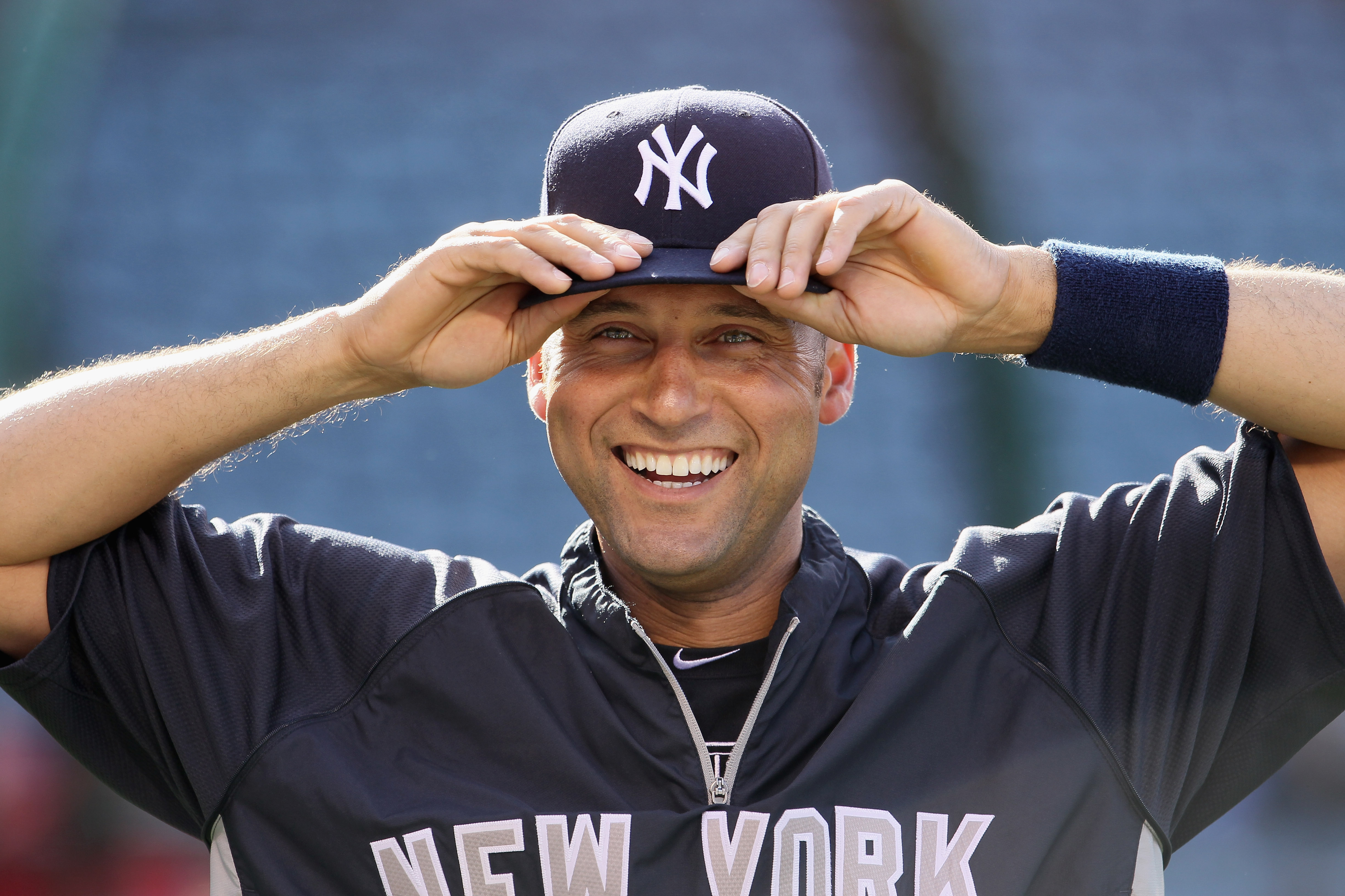 ANAHEIM, CA - JUNE 03:  Derek Jeter #2 of the New York Yankees looks on prior to the start of the game against the Los Angeles Angels of Anaheim at Angel Stadium of Anaheim on June 3, 2011 in Anaheim, California.  (Photo by Jeff Gross/Getty Images)