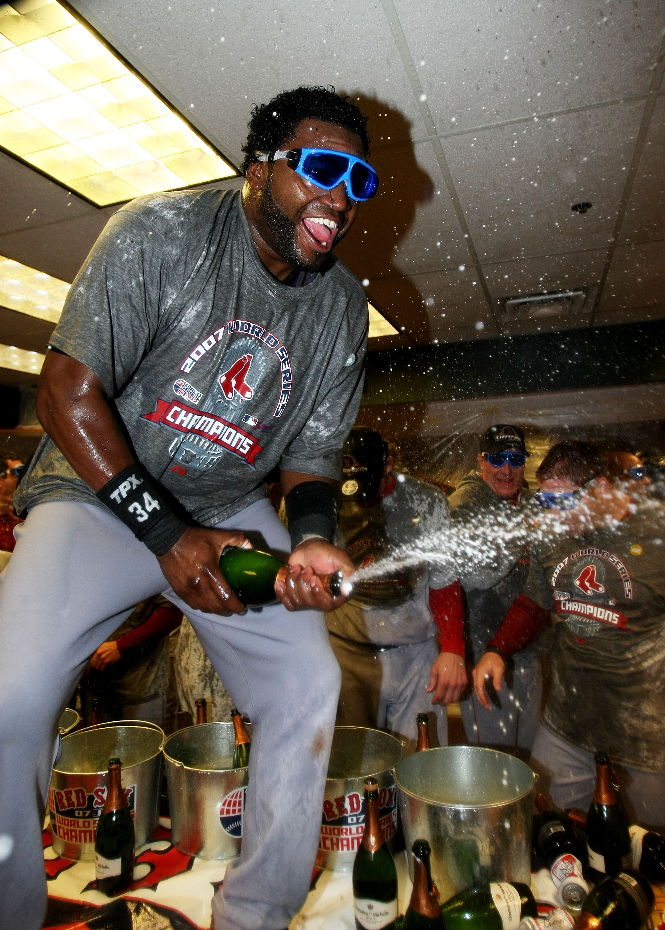 David Ortiz parties in the locker room after sweeping the Colorado Rockies in the 2007 World Series